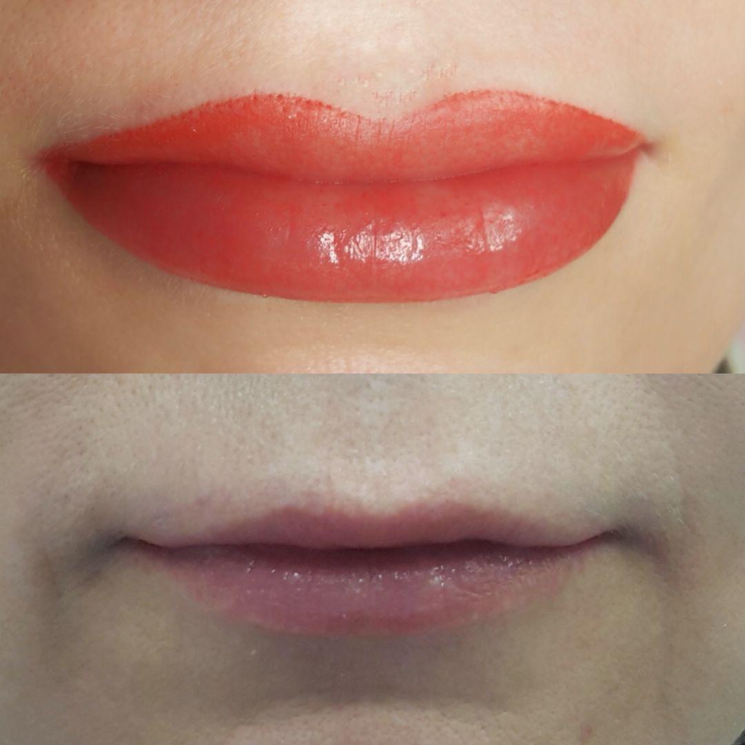 татуаж губ фото до и после последствия правило